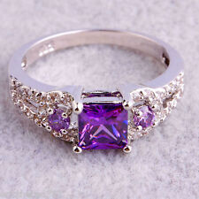 Exquisite Amethyst + White Topaz Gemstones 925 Silver Ring Size 9 Free Ship