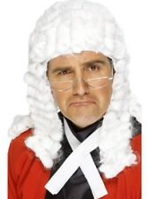 Judges Wig White with Curls Barrister Lawyer Fancy Dress Costume Accessory New
