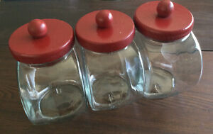 Vintage Canister Set Of 3 Glass Jars w/Painted Red Wood Lids Anchor Hocking USA
