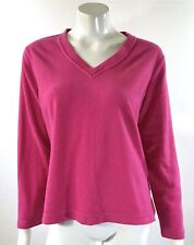 Charter Club Intimates Fleece Sweater Medium Pink V Neck Long Sleeve Pullover