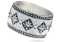 Black White Enamel Hand Drawn European Gypsy Flower Design Bracelet Bangle Cuff