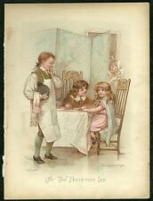 Book plate - Dickens characters - chromolithograph - 'At the Holly Tree Inn'