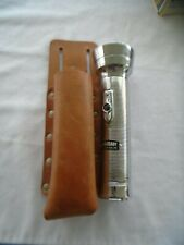 Metal Eveready Flashlight And Leather Holder Without Batteries Unused Tested