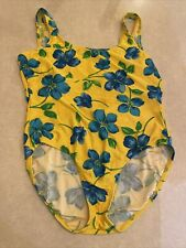Vintage Catalina 80s One Piece Swimsuit 2X Hawaiian Floral Print Bathing Suit