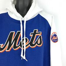 NEW YORK METS men's sz XL hoodie - blue white STITCHES sewn pullover sweatshirt