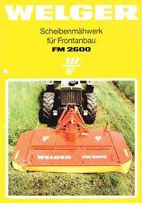 Welger Scheibenmähwerk für Frontanbau FM 2600, orig. Prospekt 1989