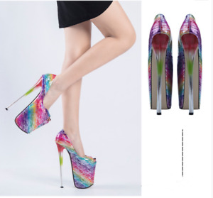 Women Platform Sandals Peep Toe Super High Heels Shoes Nightclub Stilettos Shoes