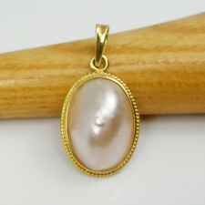Light Pink Aus Mabe Pearl Oval Pendant Genuine 750 18k 18ct Yellow Gold, 18MPO4