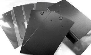 Jewellery Display Cards Earring Black Plain & Self Adhesive Bags  9cm x 5cm