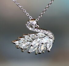 Swarovski Marquise Clear Crystal White Gold Filled Swan Pendant / Necklace