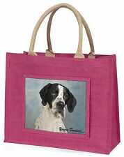 """English Pointer Dog """"Yours Forever..."""" Large Pink Shopping Bag Chris, AD-EP1yBLP"""