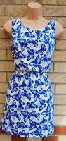 NEW LOOK BLUE WHITE BUTTERFLY BUTTERFLIES A LINE SILKY FEEL SKATER TEA DRESS 12