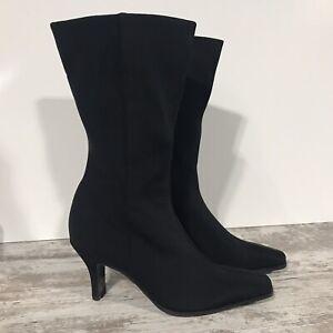 Enzo Angiolini Stretch Black Nylon Zippered Mid Calf Heeled Boots Sz 7M