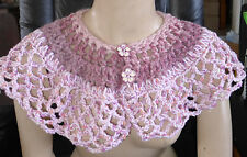 Handmade Crocheted Collar Soft Wrap Scarf Pink Colors Threads Capelet Buttons