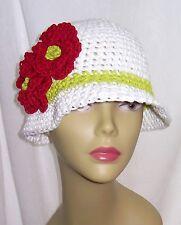 Red White 100% Cotton Cloche 20s Crochet Hat Flower Church Beach Gift