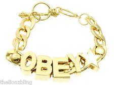 OBEY Skater Hip Hop Urban Gold Chunky Chain Bracelet Bling