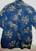 batik bay mens L button down front pocket hawaiian shirt floral blue tan short s