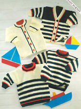 """Stripe Baby Childrens  Sweater Tunic & Cardigans Chunky Wool 18"""" - 28"""" To Knit"""