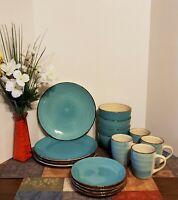 Royal Norfolk Turquoise Swirl Stoneware Dinnerware Set 16- Piece