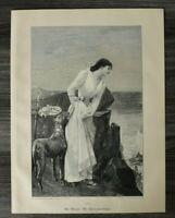 HO1) Holzschnitt 1885-1900 Ad. Weisz - Die Eifersüchtige Hund Frau Mode Kunst