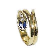585 Gold Ring Schlange mit Saphir & Diamanten Schlangenring Snake Ring Serpent
