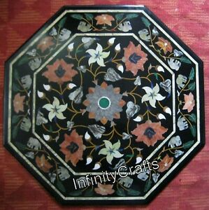 36 x 36 Inches Black Center Table Top Octagon Shape Coffee Table Pietra Dura Art