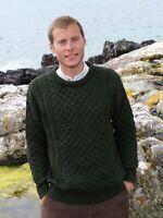 Green Traditional Irish Crew Neck Aran Sweater C1949 Merino Wool by Aran Crafts