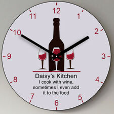 Personalised Wine Glasses Wooden Kitchen Wall Clock - New Home Wedding Gift