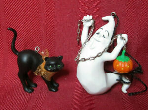 2 2004 Hallmark Frederick O'Ghastly and Friends Halloween Ornaments Ghost & Cat