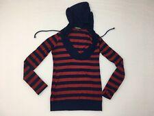 Guess Women's Long Sleeve Shirt Hoodie Blue Red XS Drawstring V-neck Rayon Blend