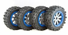 MadMax 5ive-T/X2 Giant Grip Full Set Tyres, 8 Spoke Grey Wheels & Blue Beadlocks