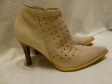 Newport News Nude Tan Leather Ankle Suede High Heels Western Zip Womens Boots 8M