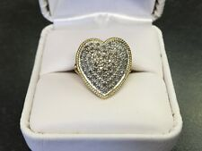 14 KT GOLD 1/2 + CARAT TDW NATURAL DIAMOND HEART CLUSTER RING W/BOX SIZE 7.0