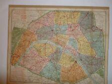 """vintage Map of Paris,France, From"""" Plan de Paris"""",Guilmin/Defrenoy, 1916-1918,"""