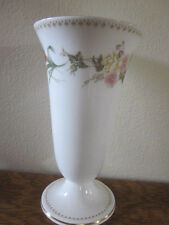 "Wedgwood MIRABELLE 7"" Trumpet Vase Bone China England Floral Flowers Gold Trim"