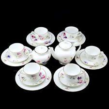 RUSSIAN Imperial Lomonosov Porcelain Bone Tea set Blossoming Peas 6/20 NEW Rare