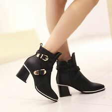 Women's Elegant Ankle Boots Fashion Pointy Toes Buckles Chunky Mid Heel Shoes Sz