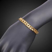 Königskette Herrenkette Panzerkette 9MM Armband für Herren Damen 21cm vergoldet