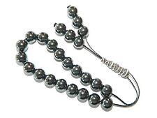 0063 - Hematite & Sterling Silver Loose String Greek Komboloi Prayer Beads