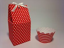12 Valentine Red Polka Dot Individual Favour Cupcake Boxes Matching Wrappers