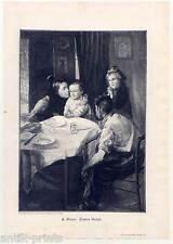 Erstes Gebet - Holzstich nach E. Giran um 1895 - Kinder