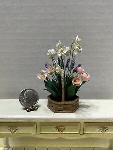 Vintage Dual Artisan Outstanding Basket of Flowers Dollhouse Miniature 1:12