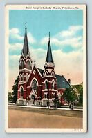 Petersburg VA, Saint Joseph's Catholic Church, Vintage Virginia Postcard