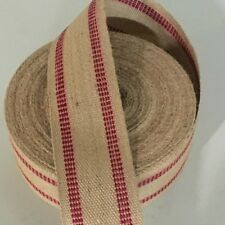 Red Line Stripe Jute Chair Seat Webbing Upholstery Supplies By The Yard