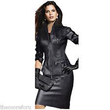 NEW GENUINE LAMBSKIN LEATHER SEXY COCKTAIL STYLISH PARTY WOMEN DRESS BLACK TMD04