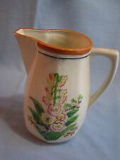 """Vintage Floral Ceramic Pitcher Foxglove Hand Painted  Japan 7 3/4"""" Tall 1950's"""