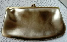 VINTAGE, GOLD CLUTCH BAG WITH GOLD COLOUR CLASP FASTENER VGC