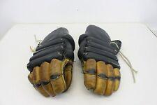 Vintage Cooper Hockey Gloves Armadillo Thumb Black Brown Leather M67