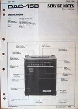 Roland DAC-15B Bass Guitar Amp Original Service Notes Manual, Schematics Sheets