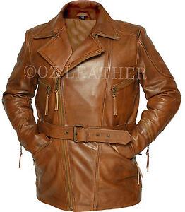 Mens Biker Brown 3/4 Motorcycle Long Cow Hide Leather Jacket Coat